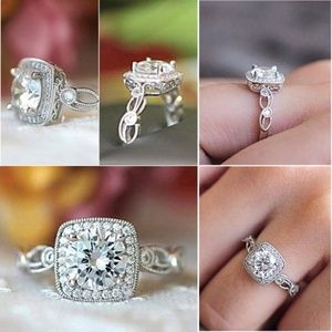 Jewelry - 925 Sterling Silver Vintage Square Halo CZ Ring